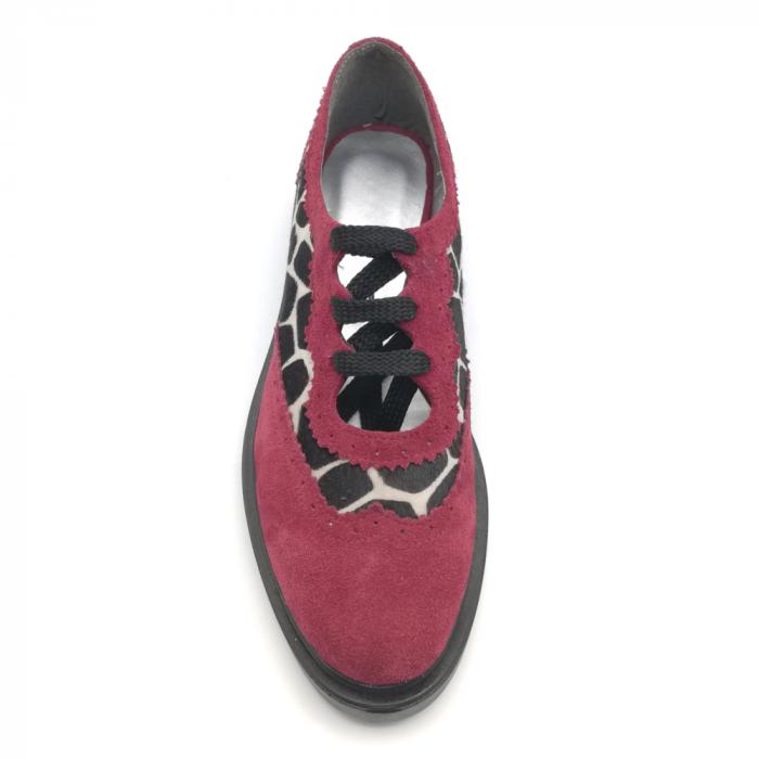 Pantofi dama din piele naturala grena cu ponei animal print 3