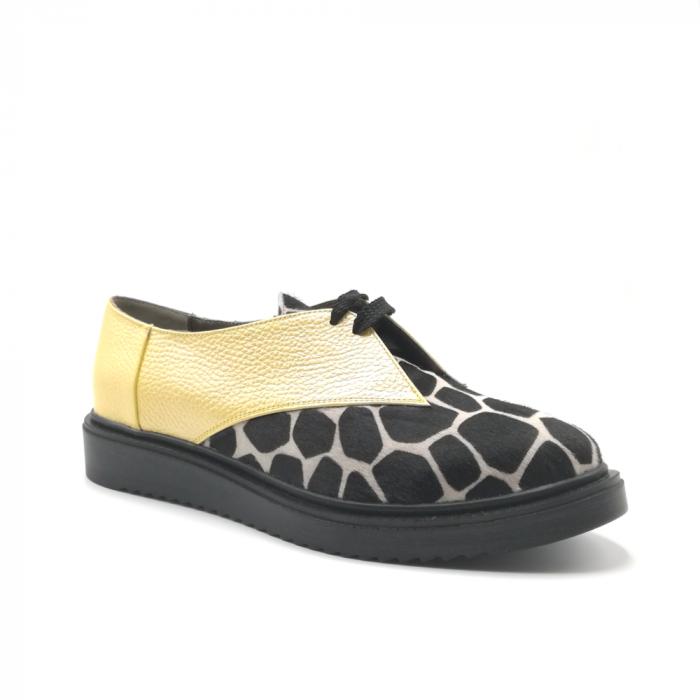 Pantofi dama din piele naturala galbeni cu ponei animal print 1
