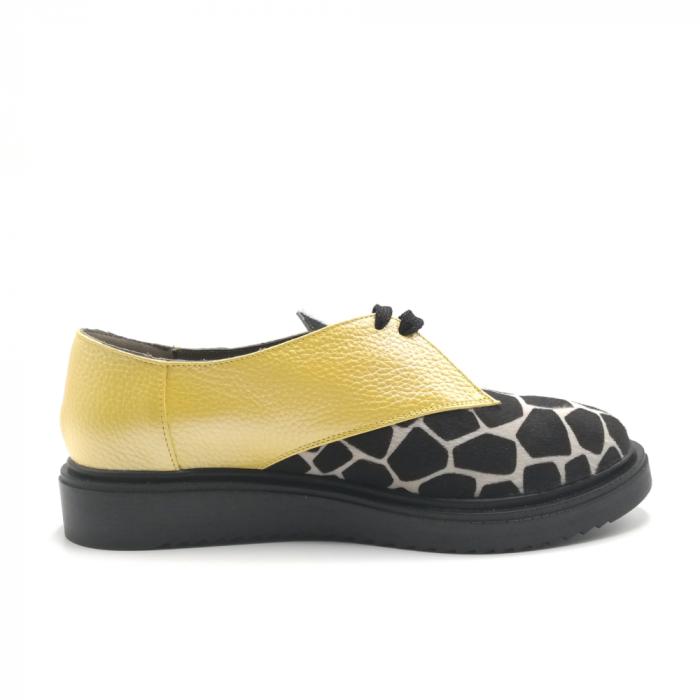 Pantofi dama din piele naturala galbeni cu ponei animal print 2