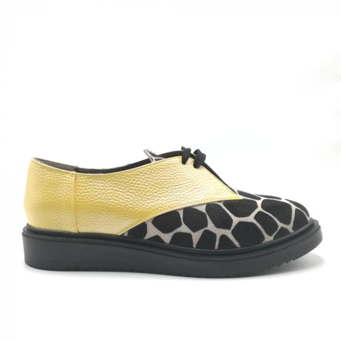 Pantofi dama din piele naturala galbeni cu ponei animal print 0