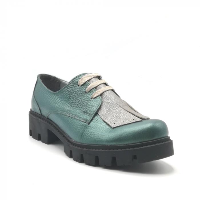 Pantofi dama din piele naturala verde metalizat cu accesoriu franjuri 1