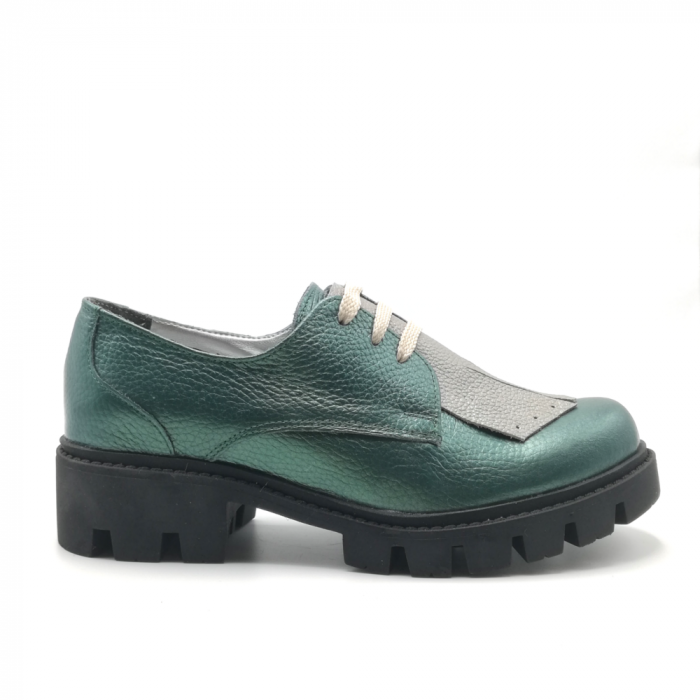 Pantofi dama din piele naturala verde metalizat cu accesoriu franjuri 0