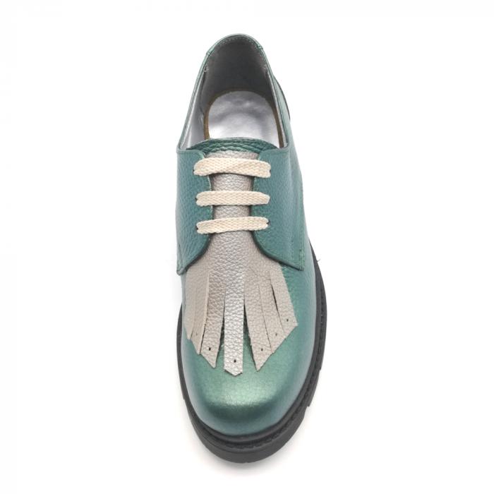 Pantofi dama din piele naturala verde metalizat cu accesoriu franjuri 3