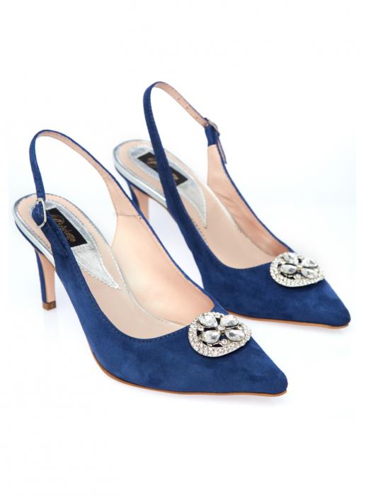 Pantofi stiletto din piele intoarsa Sara Blue 1