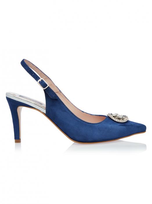 Pantofi stiletto din piele intoarsa Sara Blue 0