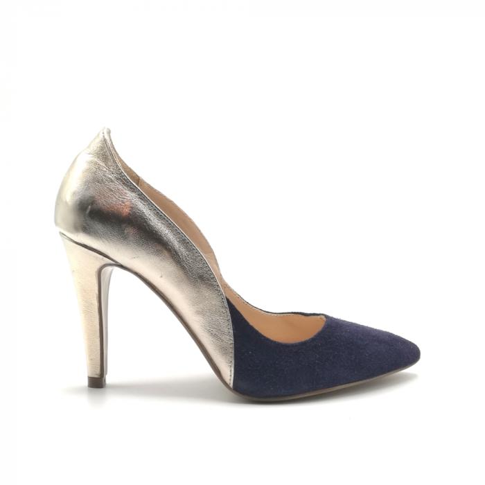 Pantofi stiletto din piele naturala Gold Navy velvet 0
