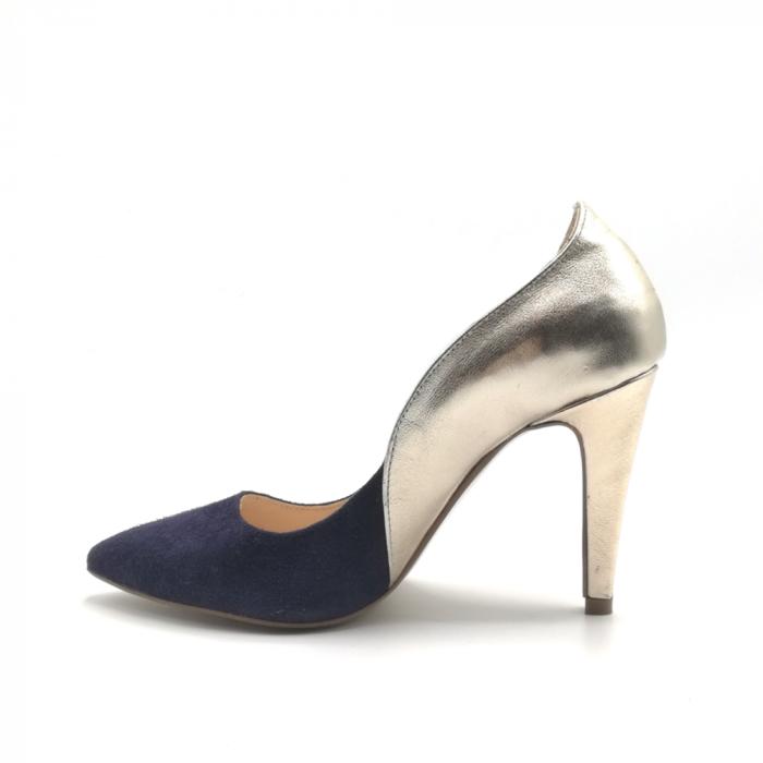 Pantofi stiletto din piele naturala Gold Navy velvet 2