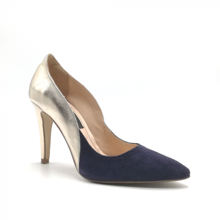 Pantofi stiletto din piele naturala Gold Navy velvet 1