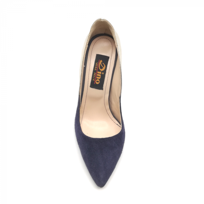 Pantofi stiletto din piele naturala Gold Navy velvet 4