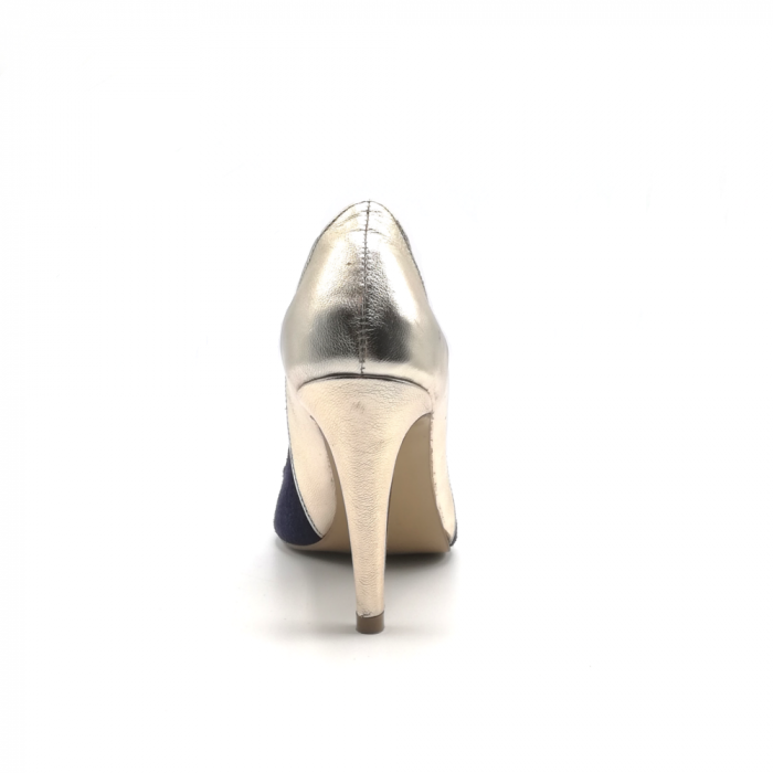Pantofi stiletto din piele naturala Gold Navy velvet 3