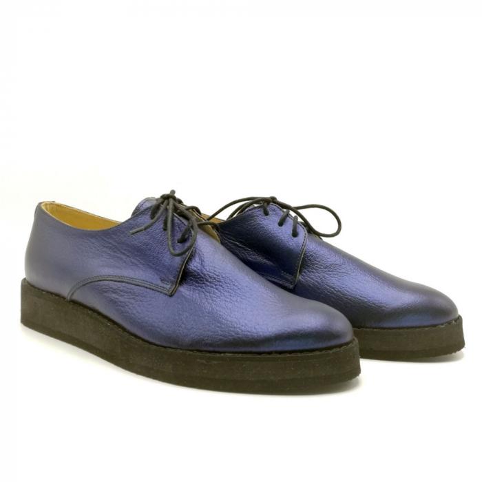Pantofi dama Oxford din piele naturala Metal Blue 1