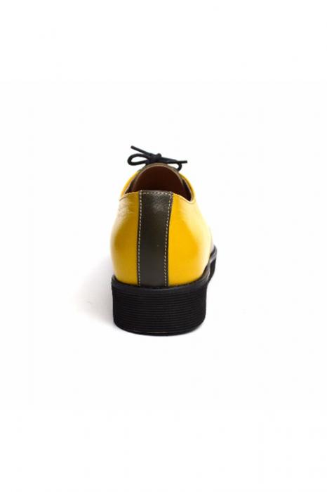 Pantofi dama Oxford din piele naturala Yellow Mirror 3