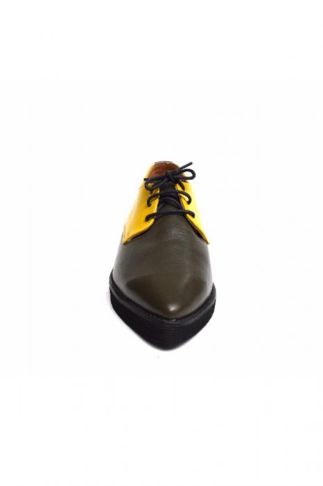Pantofi dama Oxford din piele naturala Yellow Mirror 2