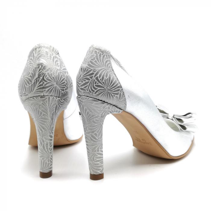 Pantofi dama stiletto Silver Bow 4