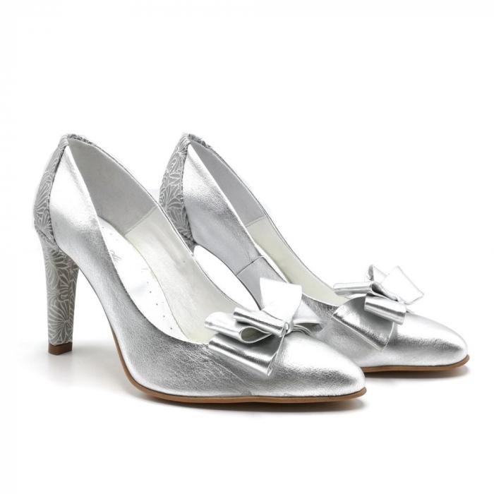 Pantofi dama stiletto Silver Bow 1