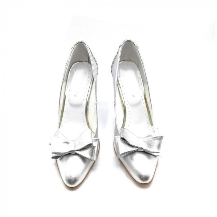 Pantofi dama stiletto Silver Bow 2