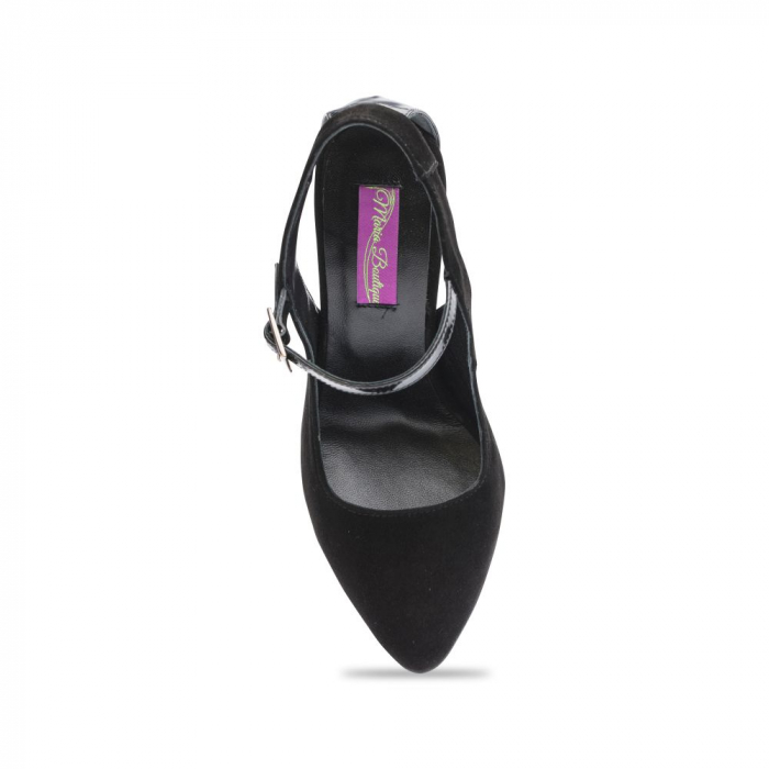 Pantofi dama stiletto din piele intoarsa negri CA07