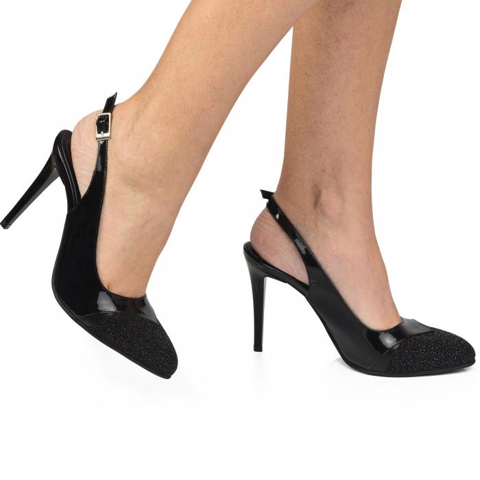 Pantofi dama stiletto din piele naturala negri CA11 0