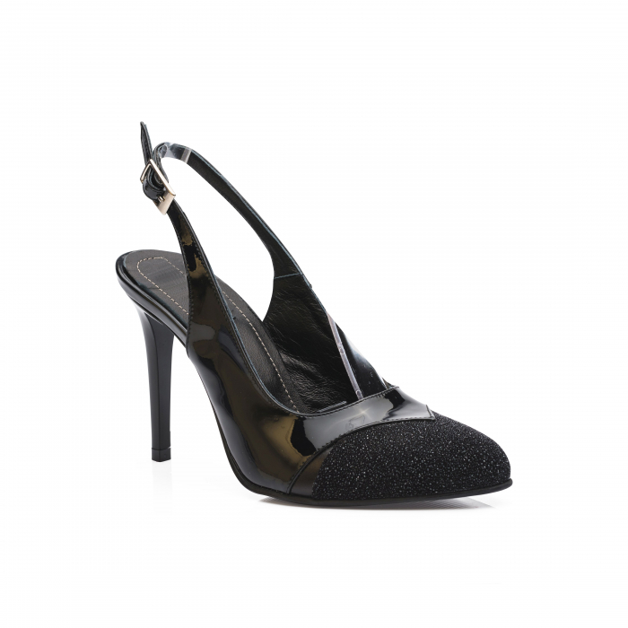 Pantofi dama stiletto din piele naturala negri CA11 2