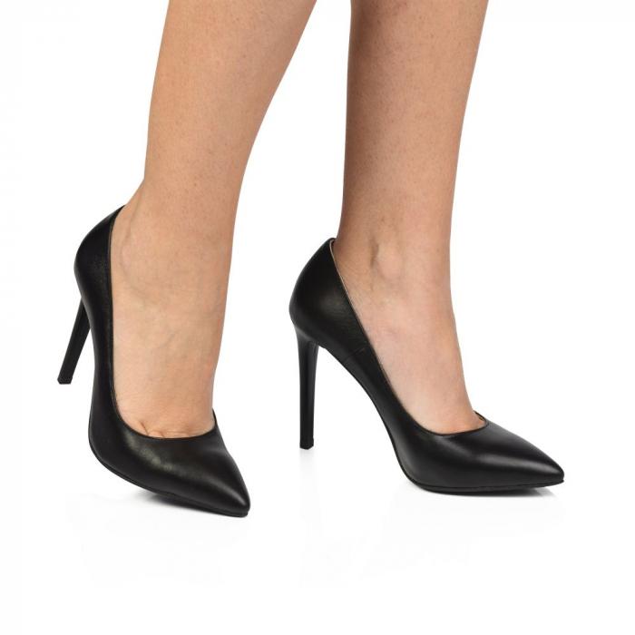 Pantofi dama stiletto din piele naturala negri CA03 1