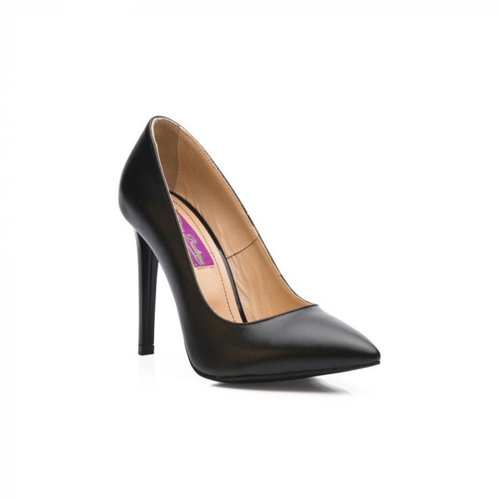 Pantofi dama stiletto din piele naturala negri CA03 2