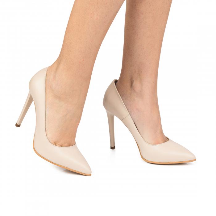 Pantofi dama stiletto din piele naturala nude CA03 2