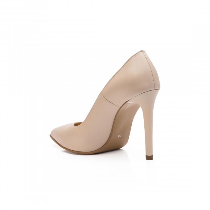 Pantofi dama stiletto din piele naturala nude CA03 3