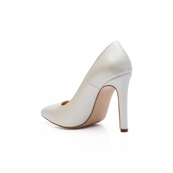 Pantofi dama stiletto din piele naturala alb sidef CA03 [2]