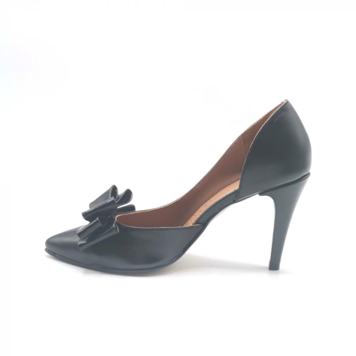 Pantofi dama stiletto Black Bow din piele naturala 1