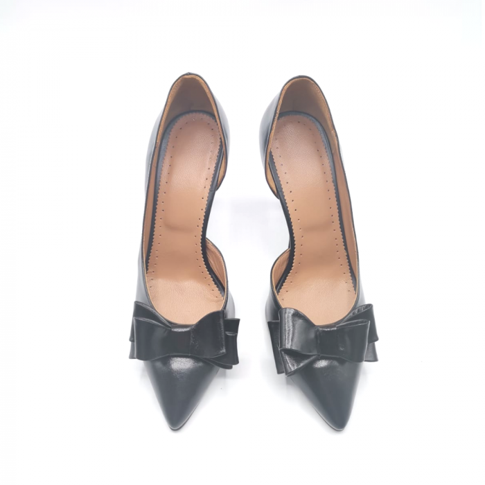 Pantofi dama stiletto Black Bow din piele naturala 2