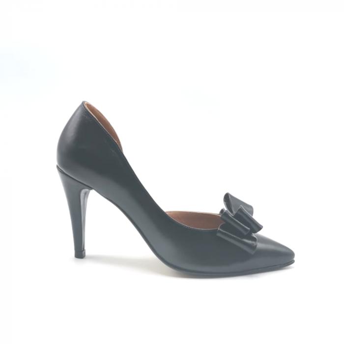Pantofi dama stiletto Black Bow din piele naturala 0