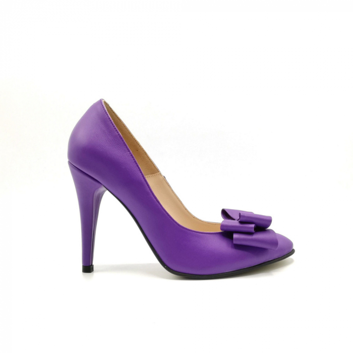 Pantofi dama stiletto Purple Bow 0
