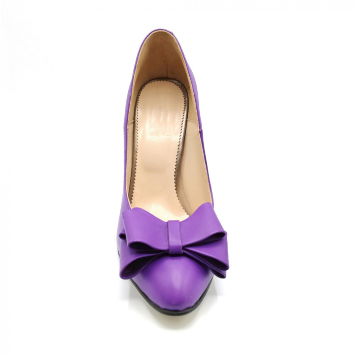 Pantofi dama stiletto Purple Bow 3