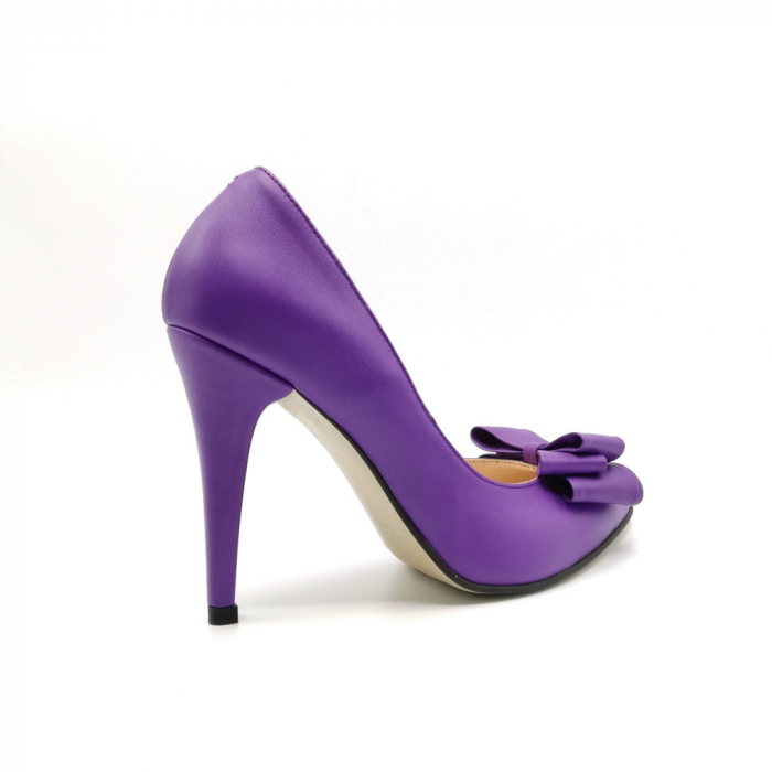 Pantofi dama stiletto Purple Bow 2