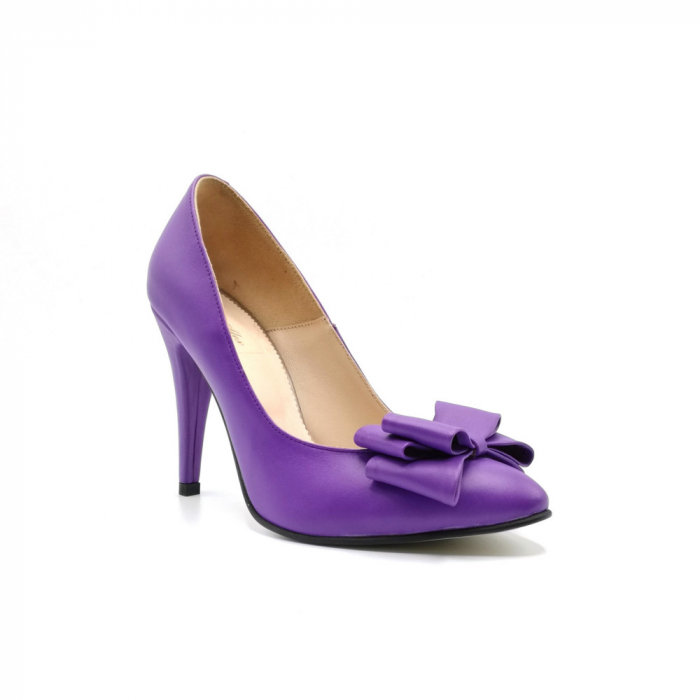 Pantofi dama stiletto Purple Bow 1