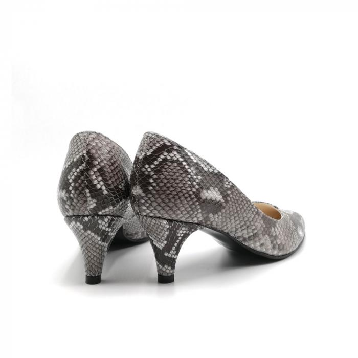 Pantofi dama cu toc mic Grey Snake 3
