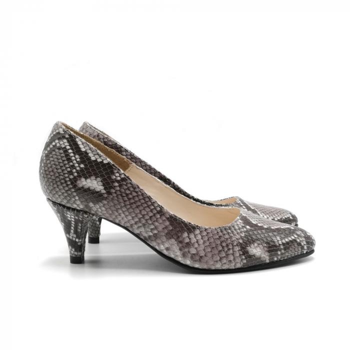 Pantofi dama cu toc mic Grey Snake 2