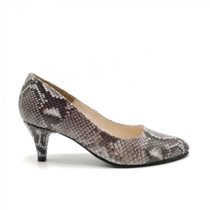 Pantofi dama cu toc mic Grey Snake 0