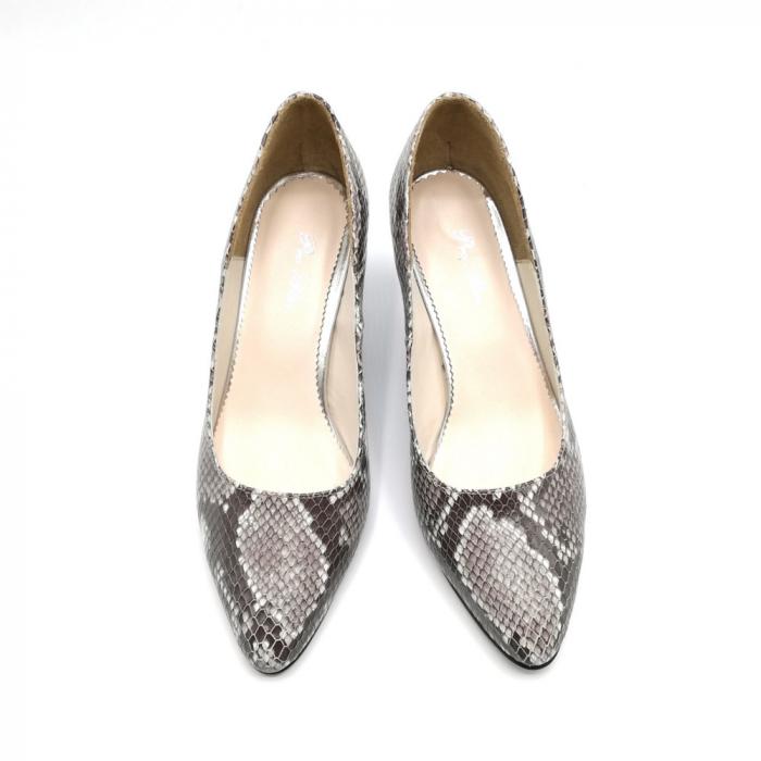 Pantofi dama cu toc mic Grey Snake 4