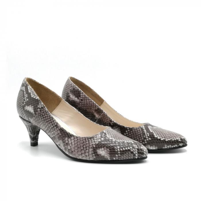 Pantofi dama cu toc mic Grey Snake 1