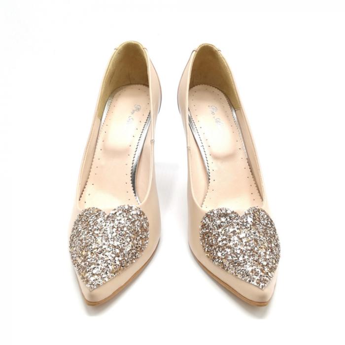 Pantofi dama stiletto Nude Glitter Bow 2