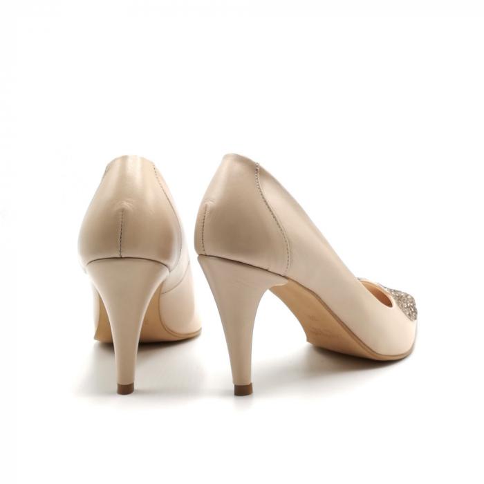 Pantofi dama stiletto Nude Glitter Bow 4