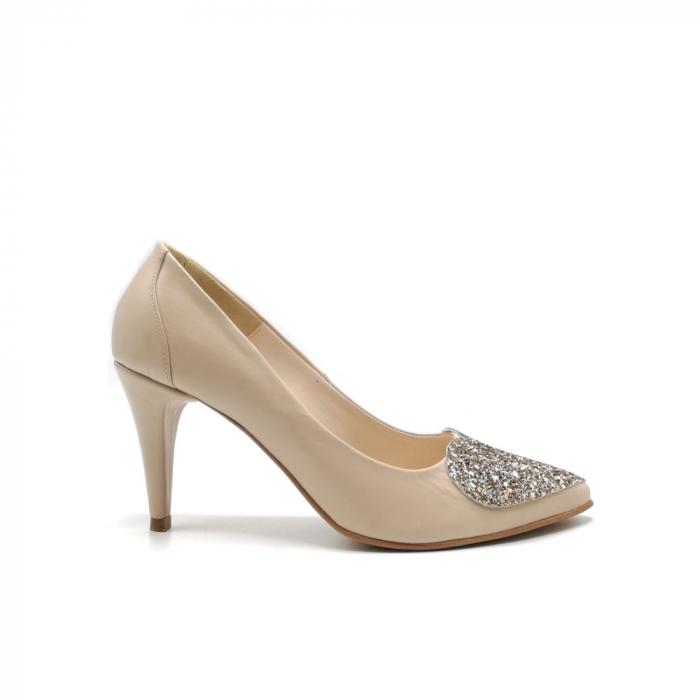 Pantofi dama stiletto Nude Glitter Bow 0