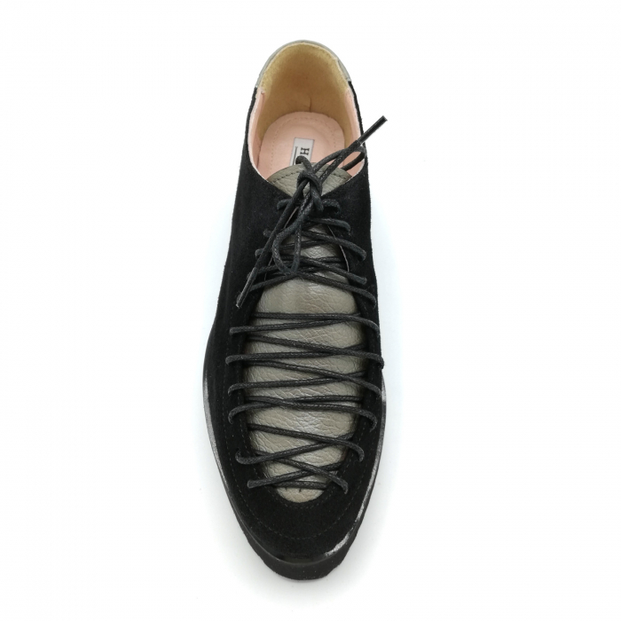 Pantofi dama tip Oxford Black Grey Laces 3