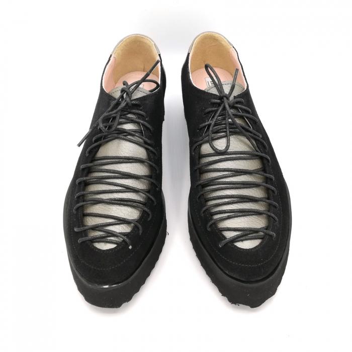 Pantofi dama tip Oxford Black Grey Laces 2