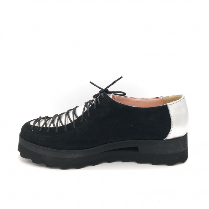 Pantofi dama tip Oxford Black Silver Laces 1