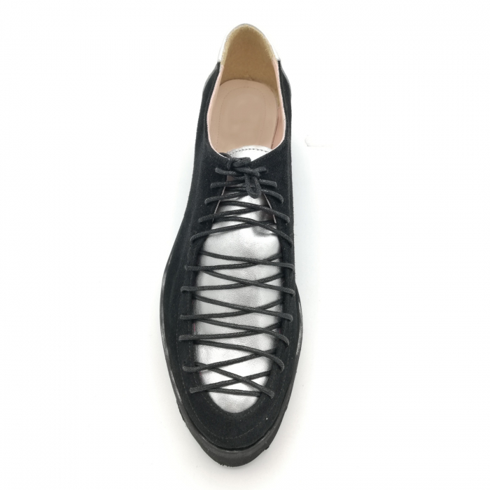 Pantofi dama tip Oxford Black Silver Laces 4