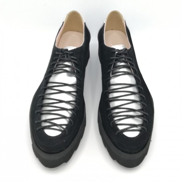 Pantofi dama tip Oxford Black Silver Laces 3
