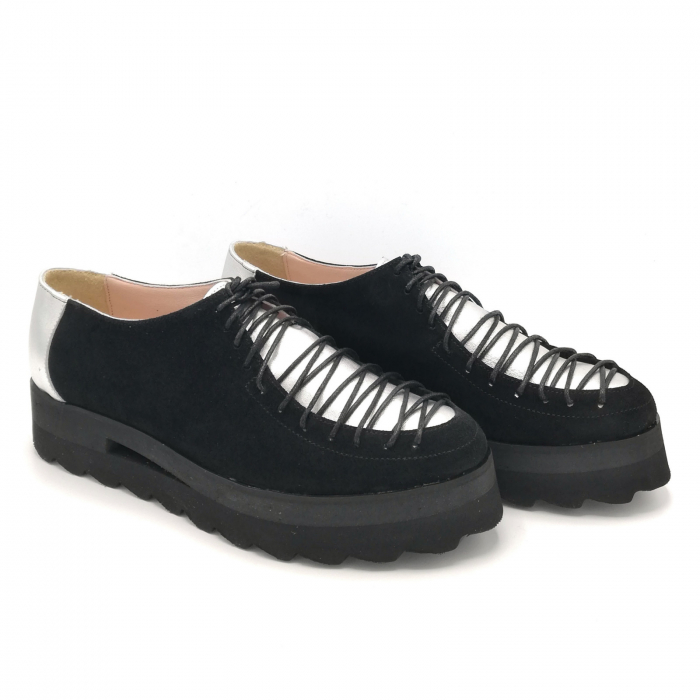 Pantofi dama tip Oxford Black Silver Laces 2