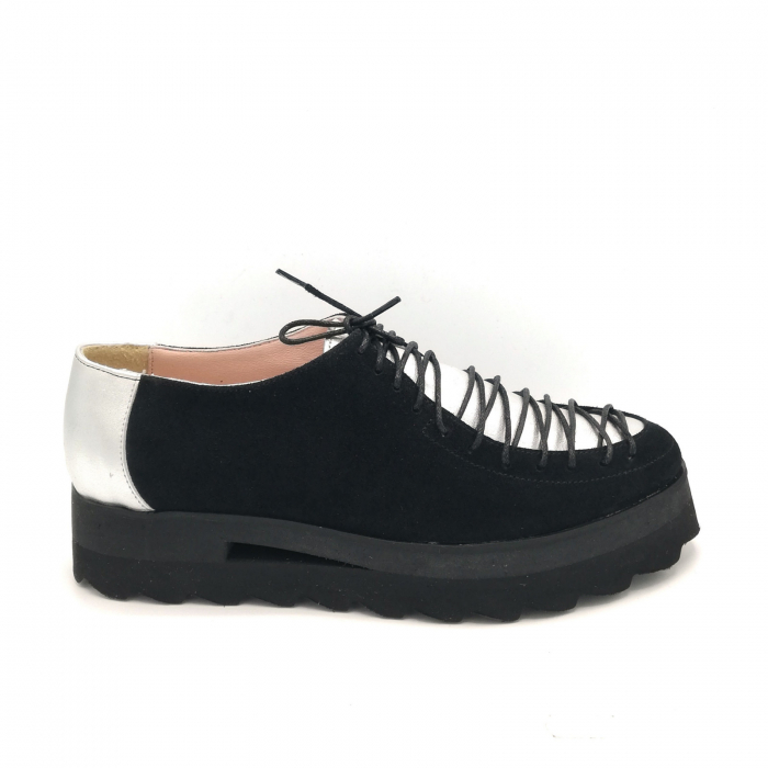 Pantofi dama tip Oxford Black Silver Laces 0